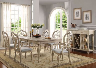 Abelin Antique White Dining Table Set   Country Antique White Dining Table