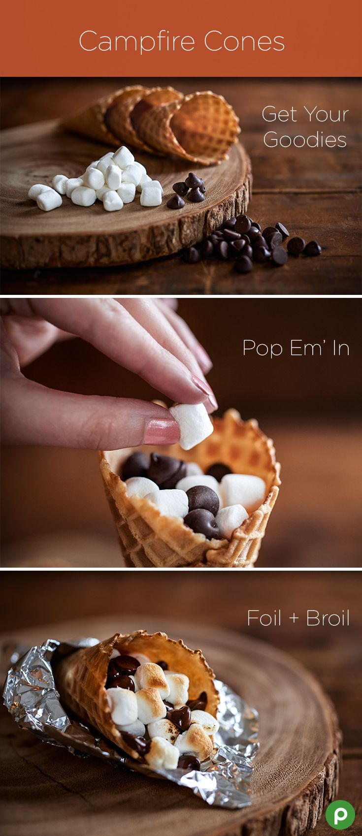Fill your favorite waffle cones with chocolate chips and mini marshmallows. Then, place on foil and broil for 2-3 minutes to get melty, campfire-inspired indoor s'mores.