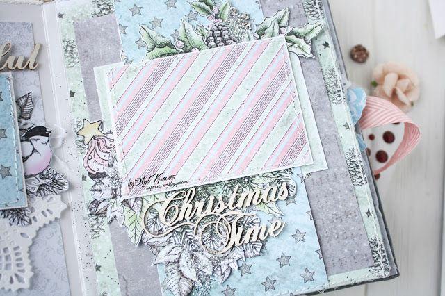 """Olya Kravets: Winter album """"Wonderful Time"""", scrapbooking, scrap, album, альбом, многослойность, зимний альбом, скрапбукинг"""