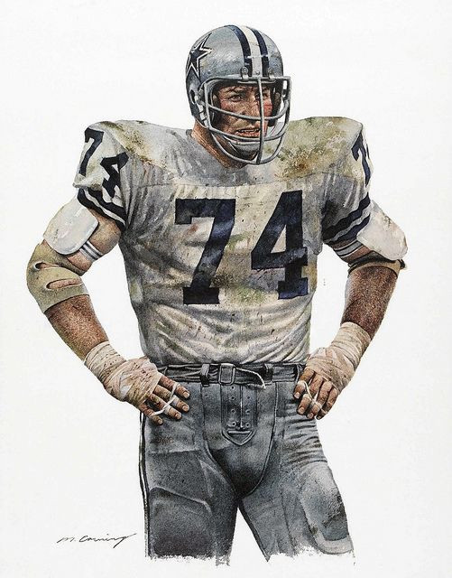 Bob Lilly of the Dallas Cowboys by Merv Corning