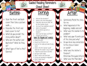 GUIDED READING REMINDERS: TEACHER CHEAT SHEET - TeachersPayTeachers.com