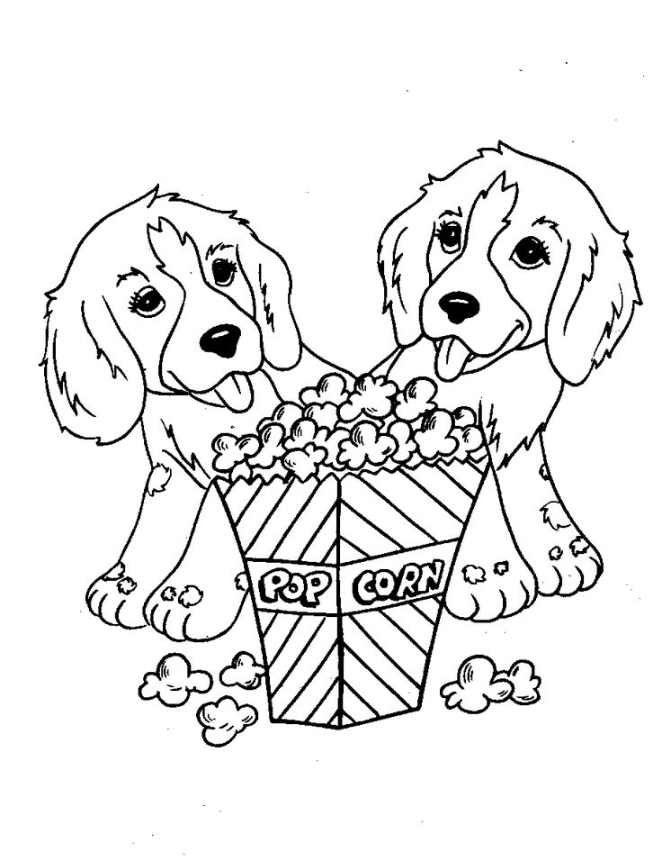 Pictures Two Dog Eat Popcorn Coloring Pages