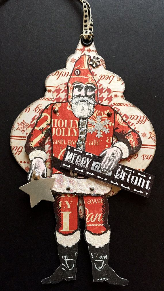 Vintage style Christmas Santa Paper Doll Tag by ParisPluie on Etsy
