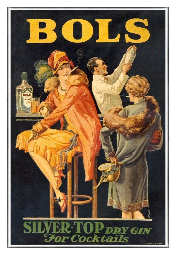 Classic poster 'Bols Silver Top dry Gin' for Lucas Bols by Patou Dronkers.