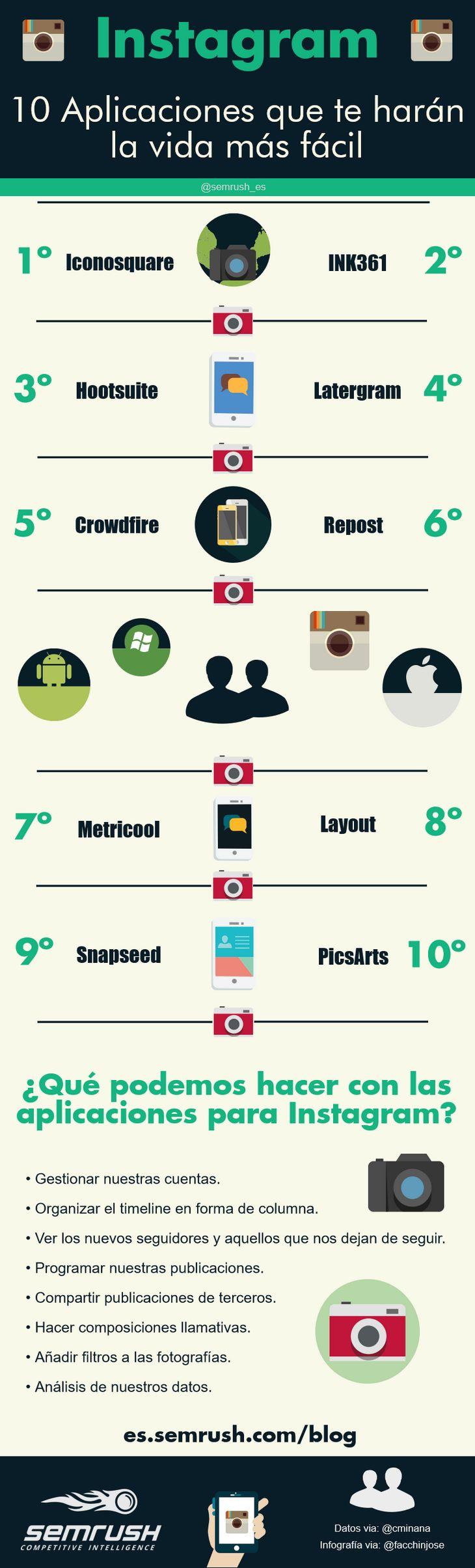 Mi pequeños aportes: 10 aplicaciones interesantes para Instagram que de...  Aquí les dejo una infografía con 10 aplicaciones para Instagram que deberías probar. #Infografia #SocialMedia #RRSS