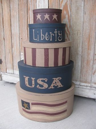 Primitive Americana Patriotic Liberty Stars and Stripes USA Hand Painted Oval Stacking Boxes Set of 5