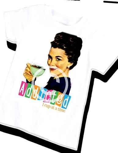 """Addicted 1 Cup at a Time"" Women's shirt.  Vintage Lucy's."