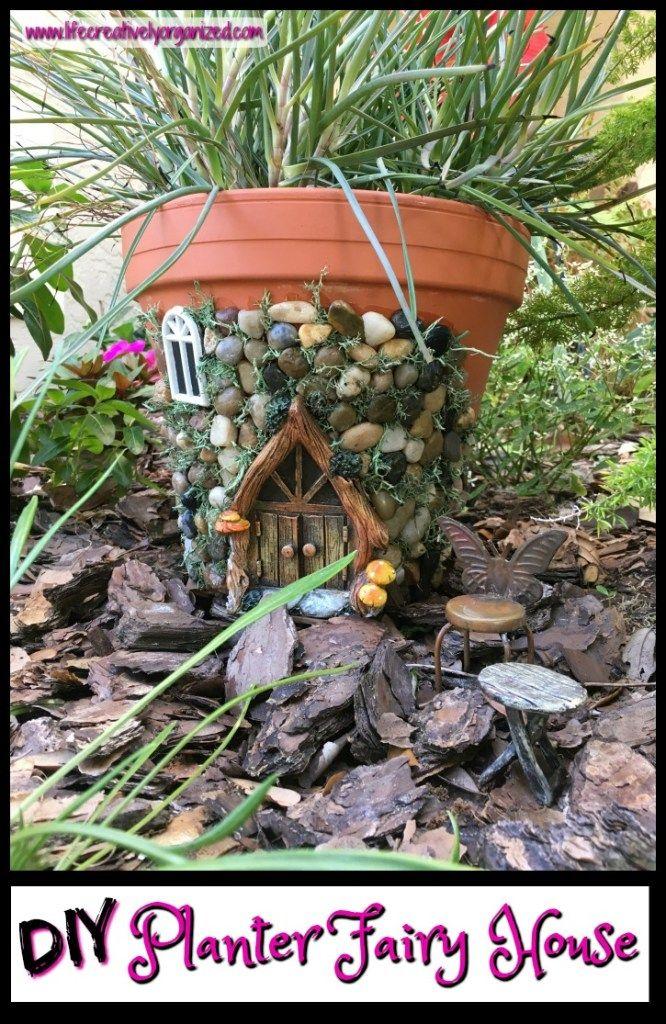 Whimsical diy fairy house planter f e jardin de et tronc - Jardin de fee ...