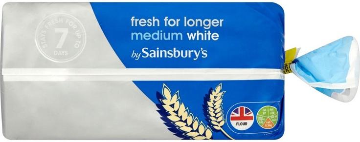 Sainsbury's Fresher for Longer Medium Sliced White Bread (800g)