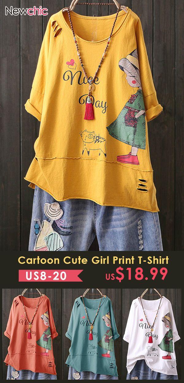 Print Cartoon Cute Girl Crew Neck Short Sleeve Cas…