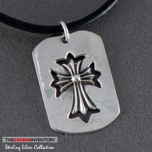 925 STERLING SILVER AJOURE CROSS TAG PENDANT SIL0336