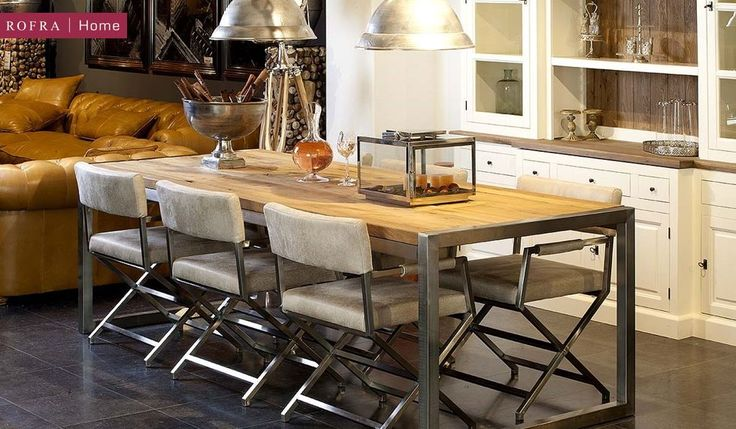 Moderne eettafel gecombineerd met industri le stoelen en hanglampen rofra home industrieel - Eigentijdse eettafel ...