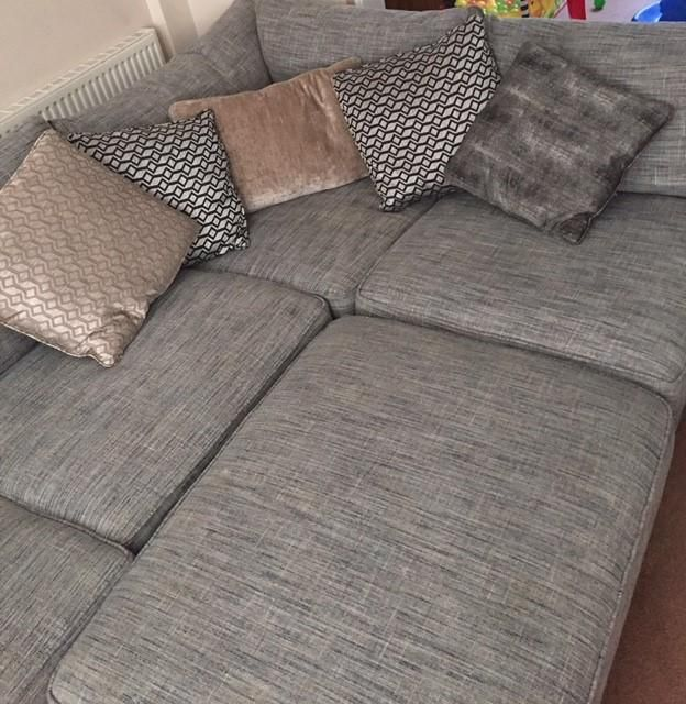 Corner Sofa & Chair+ Large Footstall For Sale in Stafford, Staffordshire | Preloved