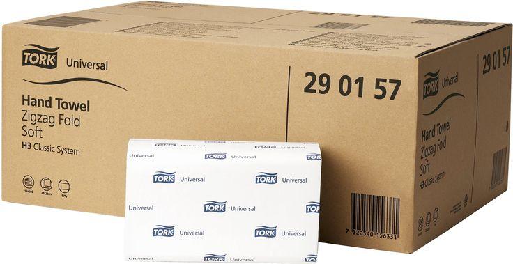 Prosoape de hartie Tork Universal, Sistem H3 – C - fold ZZ. Numar straturi: 1 strat. Culoare: Alba. Dimensiuni: 23 x 23 cm. Numar portii: 266/ pach. Mod de ambalare: 15 pach/ bax. Greutate bax 8 kg