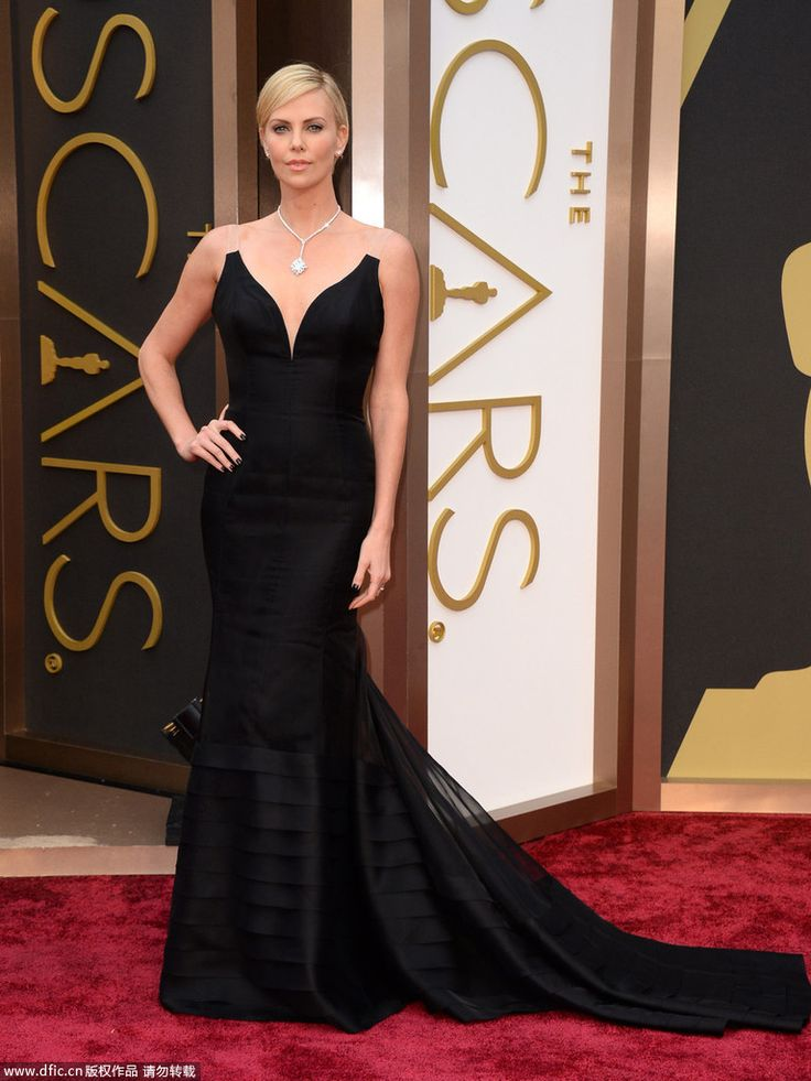 2017 Oscars Strapless Evening Dress Charlize Theron Satin Tulle 86th Academy Awards Red Carpet Celebrity Dress