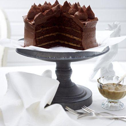 Schokoladen-Karamell-Torte mit Ganache Rezept