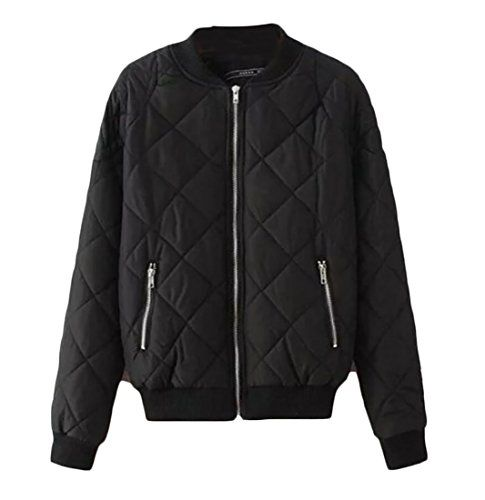 Gnao Womens Quilted Lightweight Pockets Stylish Baseball Bomber Jacket Coat Black S