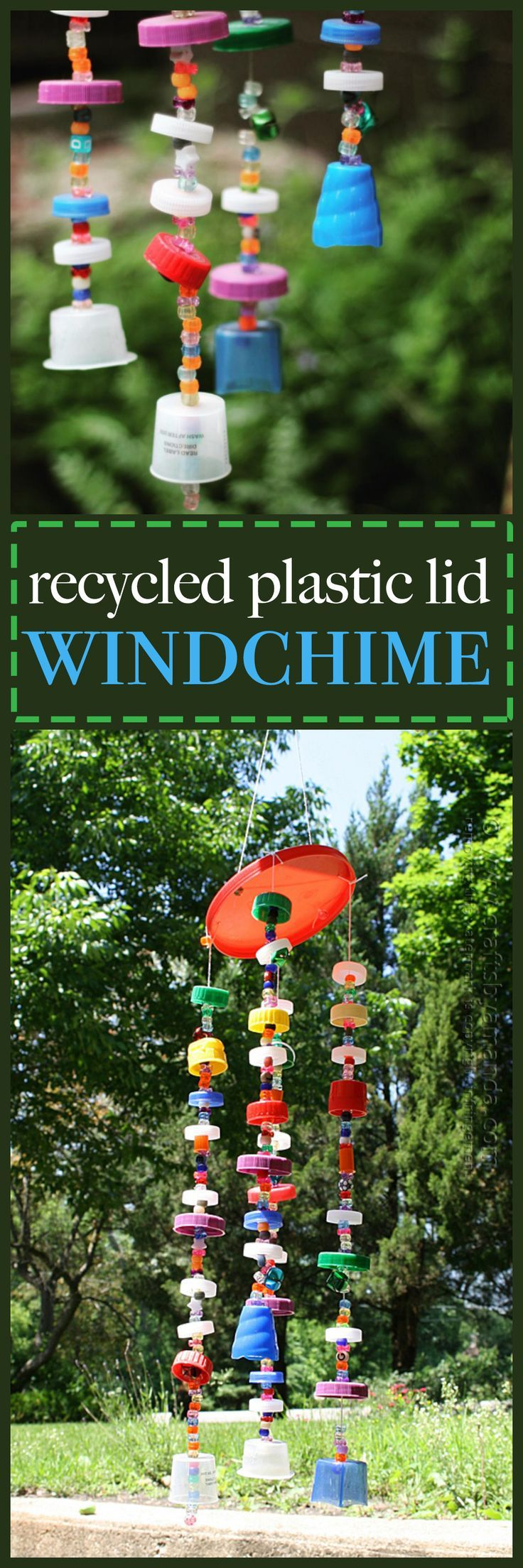Make a fun windchime out of plastic