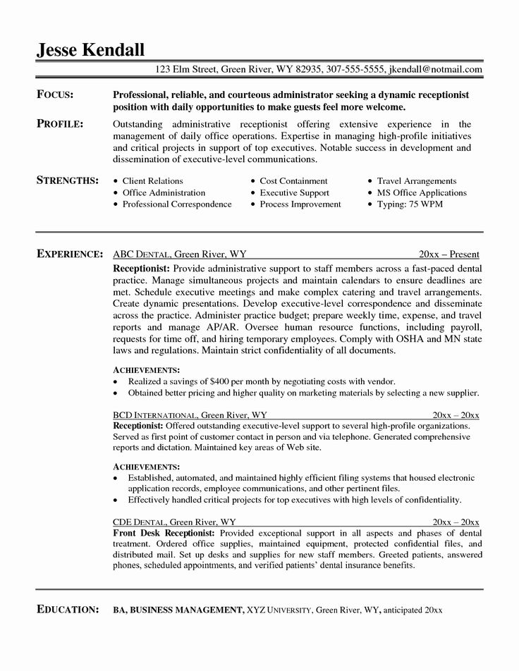 25 Front Desk Medical Receptionist Resume in 2020 Resume