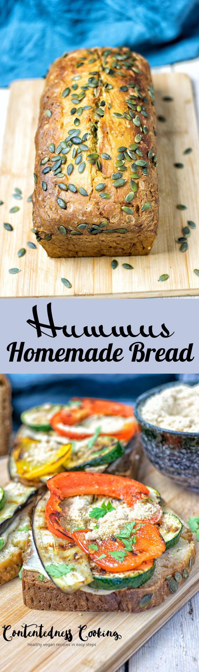 Hummus Homemade Bread made with just 5 ingredients and 2 easy steps, vegan and gluten free. Simple and tasty, this will be the best fresh bread you've ever made. Click to find out how I made this amazing breakfast, lunch, or even dinner staple.