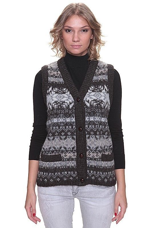 Soft and  Warm Buttoned 100% Wool Vest for Ladies Traditional Icelandic Design #Unbranded #ButtonedWoolVest