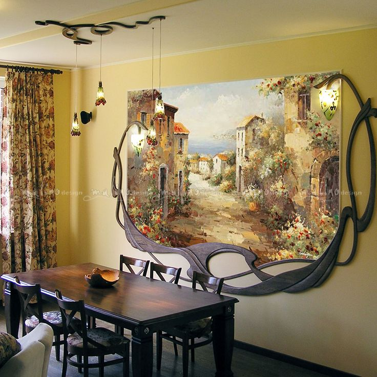 Making a living. The frame for the mural is made of solid oak. LED light above the table is made of bronze, oak and stained glass Artists - Oksana Parfentieva Alexey Romanovsky