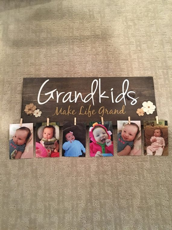 Grandkids Make Life Grand wood sign with clips by KellyRaeCreates