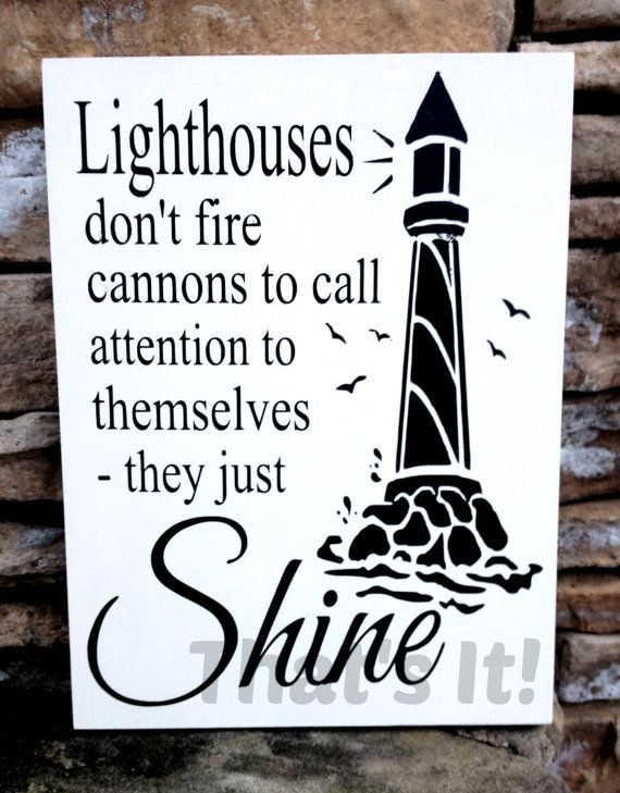 Lighthouse Hand Painted Inspirational Wood Sign Made in USA. Lighthouse Decor, Nautical Theme. 9 x 12 x 3/4 Top Quality Tung Wood Panel.