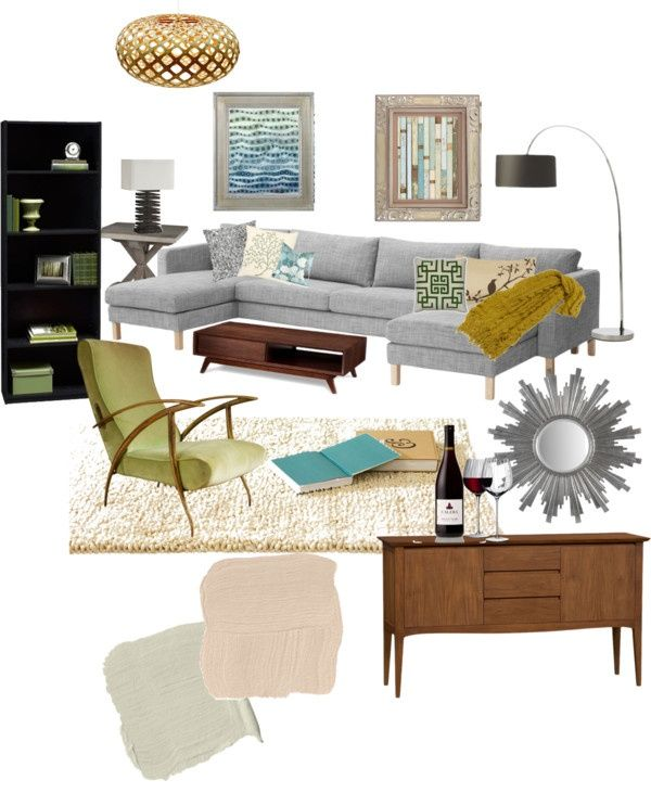 """modern-vintage living room"" by jmariediet on Polyvore"