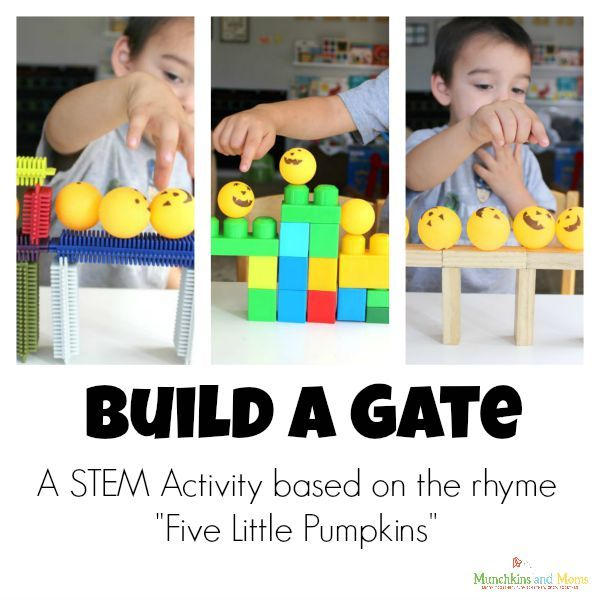 """A fun STEM Activity based on the rhyme """"Five Little Pumpkins""""!"""