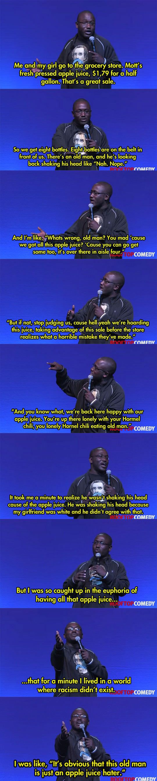 Why I adore Hannibal Buress' stand-up comedy. lol Apple juice euphoria.