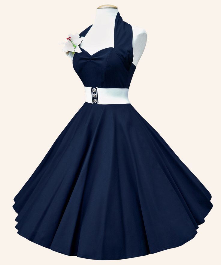 """1950s Halterneck Plain Dress. Made from cotton sateen fabric. """"As with all of our boned dresses, the authentic bodice neatly nips the waist and shapes the bust so your silhouette stands out as the perfect pin-up"""""""