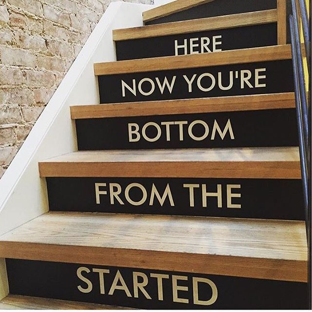 Tell me why all stairs don't have rap lyrics on them.. #NamasteDrake🙏🏼
