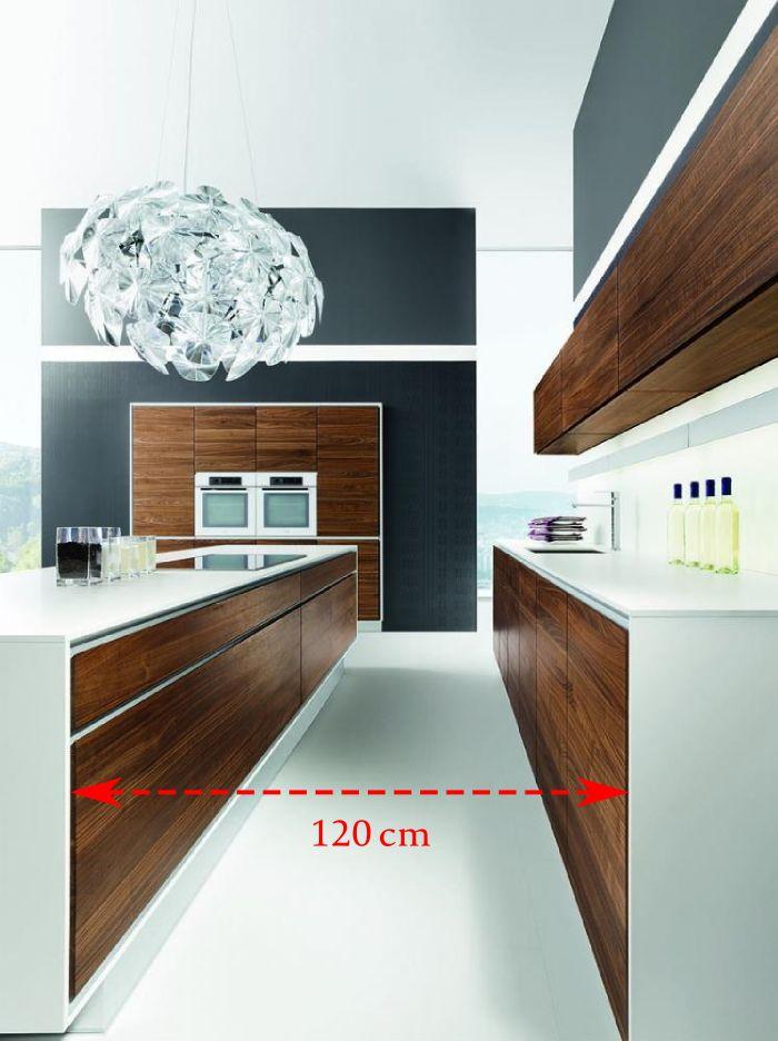 Vao kuchyně s ostrůvkem, Prostor mezi protilehlými částmi kuchyňské linky nesmí být menší jak 120 cm.