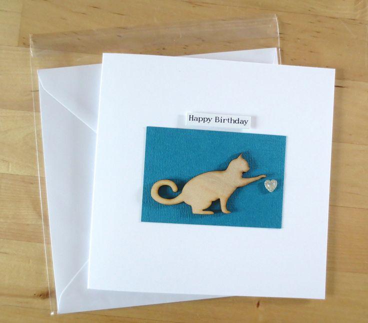 Cat Greeting Card, Cat Birthday Card, Cat Card, Greeting Card for Cat Lover, Cat Lover Card, Cat Greetings Card, wooden card, Cute cat card by FyneHandmadeCards on Etsy