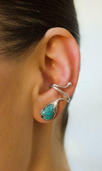 Silber Ohrringe - Ohrring ohne Ohrloch Silber 925 Türkis Tropfen - ein Designerstück von Appelstyle bei DaWanda
