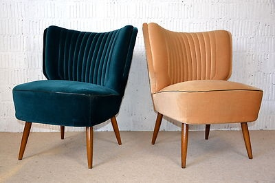50s 2x PAIR of matching MARVELOUS COCKTAIL EASY CHAIRS CHAIR Mid-Century Vintage | eBay