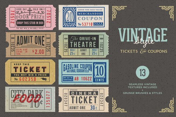 Vintage Tickets & Coupons Bundle by MyCreativeLand on Creative Market