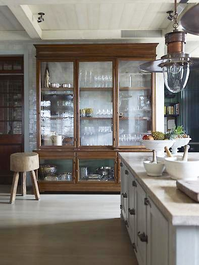 "Unfitting For a Kitchen  Even Steven Gambrel uses large furniture pieces for an unfitted look.  So why can't I find a few pieces of furniture and cobble something together with some larger lengths of countertop, a nice new sink and new appliances?  Just ""make it work."""