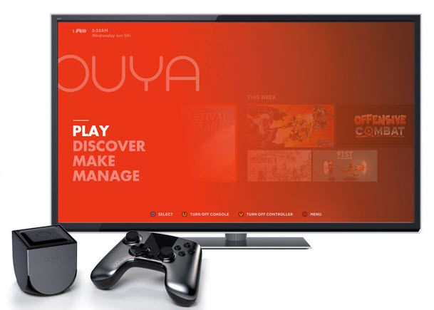 OUYA video game console available for preorder on Amazon  So what's OUYA? It is a multimedia console for Android that you can plug right into your TV to play games, run apps or browse the Internet. While the focus of the system is gaming, it has been designed for other tasks as well like listening to Internet radio, watching videos and movies or running live streams on the TV......