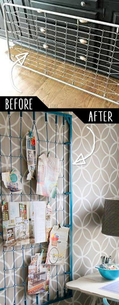 DIY Furniture Hacks |  Old Crib Spring to Wall Memo Board  | Cool Ideas for Creative Do It Yourself Furniture Made From Things You Might Not Expect - http://diyjoy.com/diy-furniture-hacks