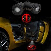 Geek   2x Car Door X-men Deadpool Symbol Logo Welcome LED Laser Projector Ghost Shadow Light