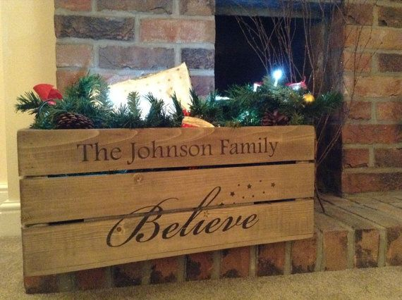 Personalised Christmas Wooden Crate Xmas Eve by Applecratescouk
