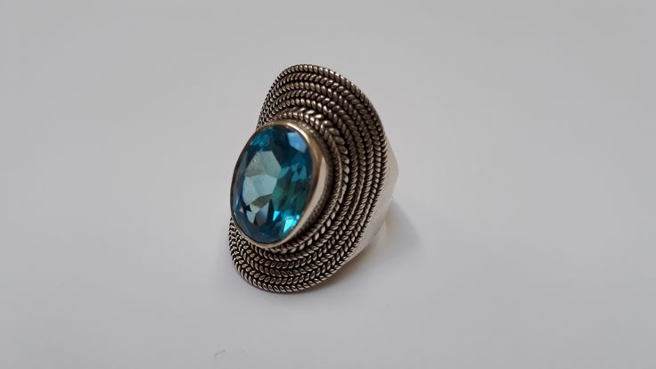 Handmade 925 Sterling Silver Ring with Blue Topaz