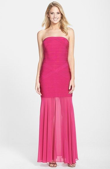 JS Collections JS Collection Drop Waist Trumpet Gown #fuschia #pink #fuchsia #dress #fashion #gown #sheer
