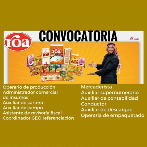 CONVOCATORIA ARROZ ROA DIFERENTES CIUDADES DE COLOMBIA  ARROZ ROA Requiere para su equipo de trabajo a nivel nacional personal en los siguientes cargos. Hacer clic en el enlace ...