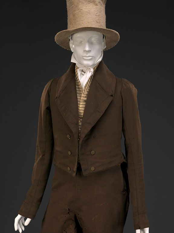"""Suit, late 1820s, DAR Museum. Matching coat and trousers were a particularly American style choice. Outfit was photo'd prior to conservation due to time constraints; damage in upper leg has been repaired for exhibit. Striped wool waistcoat, c1820, private coll; silk plush """"beaver"""" hat, 1820s, DAR Museum. agreeabletyrant.dar.org"""