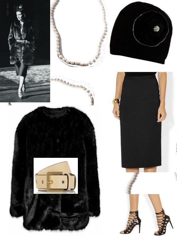 Chanel, gdy chłodniej: - czarne futro (w połowę uda, z kieszeniami, długim rękawem, okrągłym dekoltem), - pasek z tali (kolor kontrastowy do futra, czyli jasne-ciemne), - czarna prosta czapka (z dużą broszką: czarne płatki róży i diamenty/sztuczne kamienie) - czarne buty na obcasie i platformie z delikatnych paseczków, - spódnica ołówkowa za kolano, - naszyjnik z pereł (kilka);