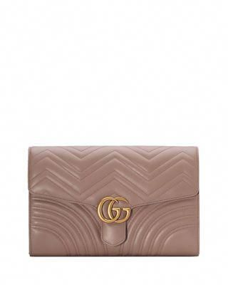 88dfeba9c7a Gucci GG Marmont Chevron Quilted Leather Flap Clutch Bag  Guccihandbags