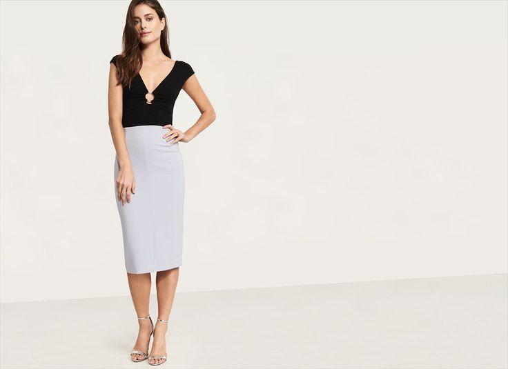 Knit Bodycon Midi Skirt